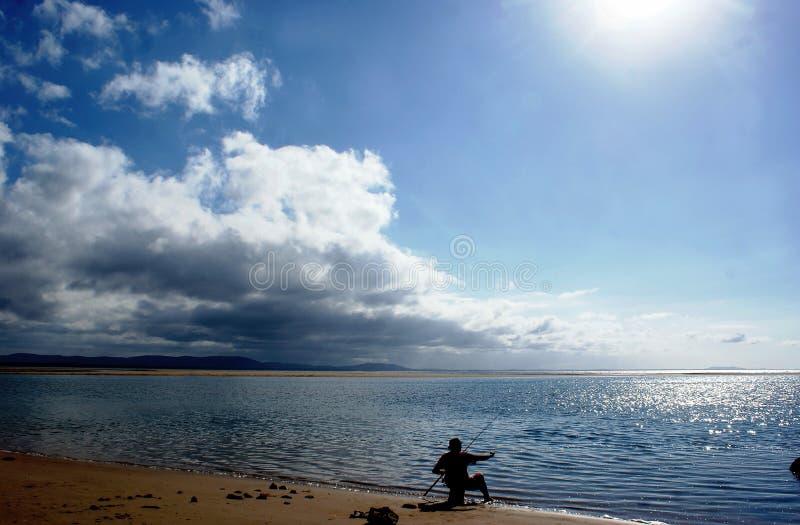 Seule pêche photos libres de droits