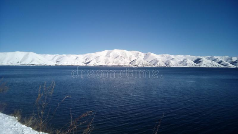 Sevan jeziora, Armenia, Gegharkunik prowincja Zima obraz stock