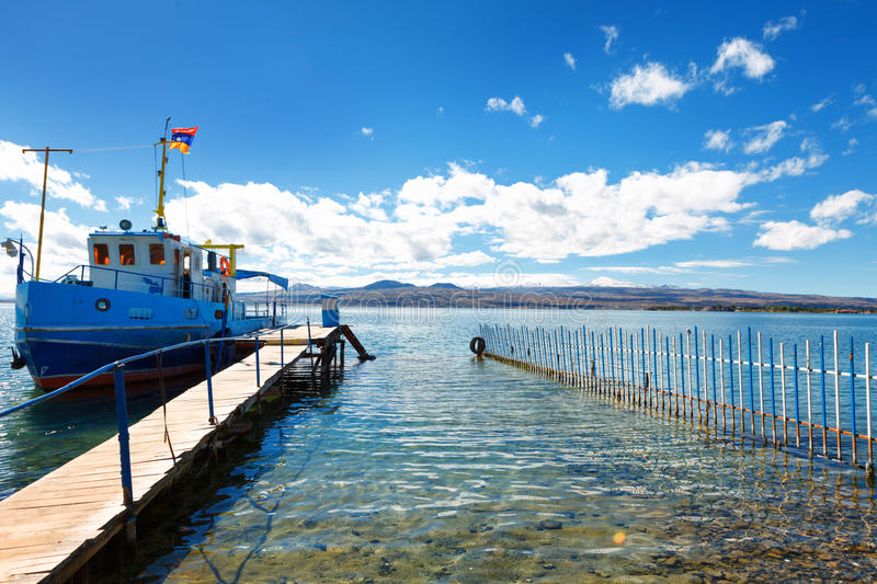 Sevan lake and white clouds blue sky on a sunny day, Armenia royalty free stock image