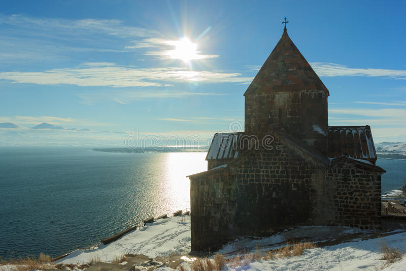 Sevanavank修道院在冬天 库存图片