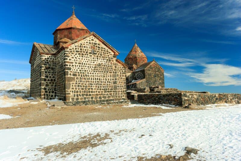 Sevanavank-Kloster im Winter lizenzfreie stockbilder