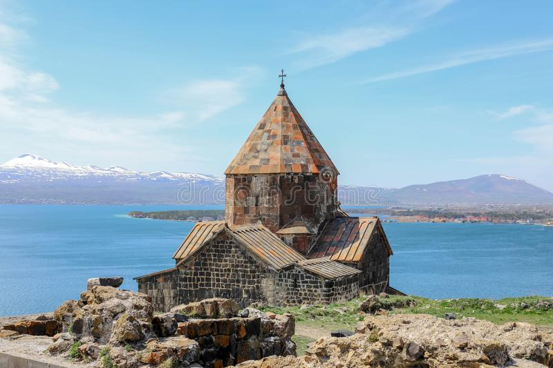 Sevanavank monastery - Holy apostles and the blessed virgin, lake Sevan in the background, Armenia royalty free stock photography