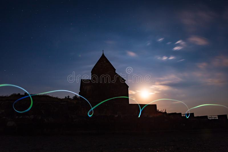 Night shot of Sevanavank Monastery on Lake Sevan, Armenia royalty free stock images