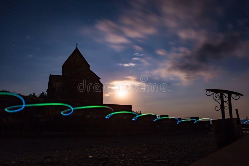 Night shot of Sevanavank Monastery on Lake Sevan, Armenia royalty free stock photography