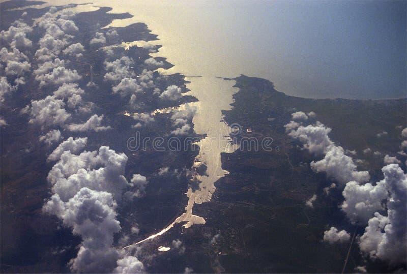 Sevastopol from altitude 10 km. stock image