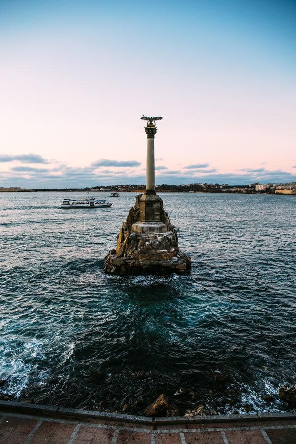 Sevastopol city symbol at sunset - Monument to the Sunken Ships, Famous Sevastopol historic statue memorial royalty free stock photography
