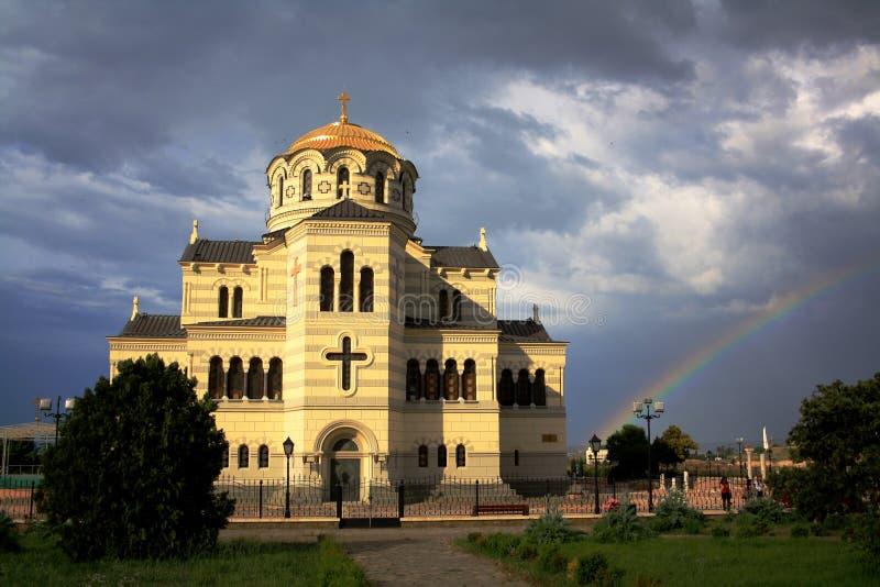 Sevastopol Crimea, Czerwiec, - 2011: Vladimir katedra w Chersonesos - Ortodoksalny kościół Moskwa patriarchat obraz royalty free