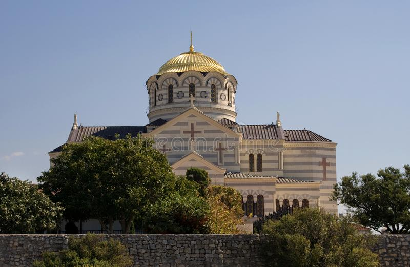 SEVASTOPOL, CRIMEA, - September 18, 2011 :The Cathedral of Saint royalty free stock photo