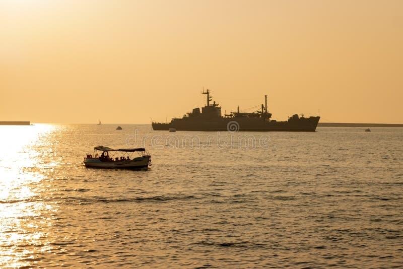 Sevastopol, Ukraine - July 30, 2011: The military ship royalty free stock photo