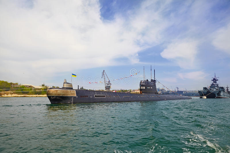 SEVASTOPOL, UKRAINE -- MAY 2013: A modern submarine in the parade of ships. Celebrating 230 years of the Black Sea Fleet. royalty free stock photo