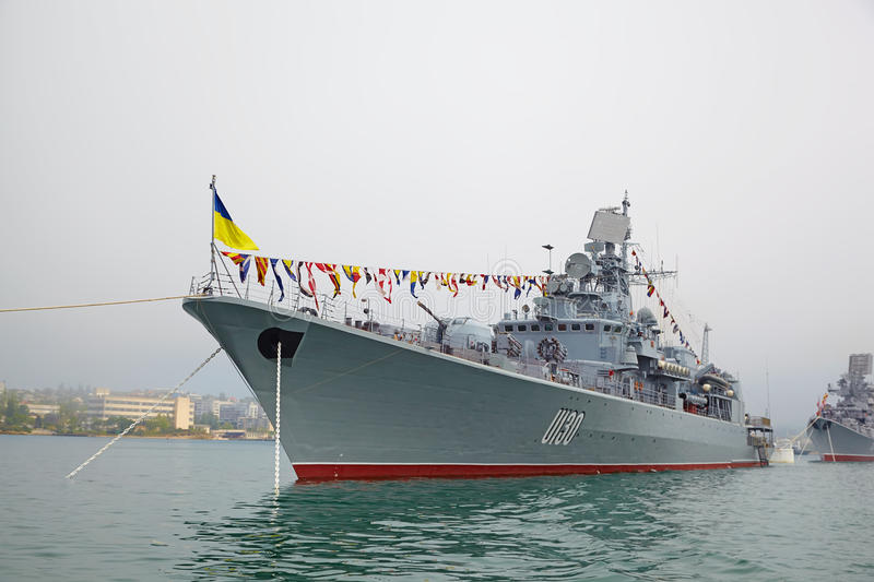 SEVASTOPOL, UKRAINE -- MAY 12: A modern warship in the parade of royalty free stock photo