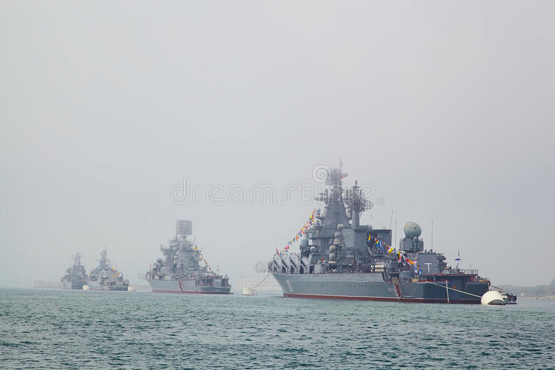 SEVASTOPOL, UKRAINE -- MAY 12: A modern warships in the parade o. F ships. Celebrating 230 years of the Black Sea Fleet on May 12, 2013 royalty free stock photo