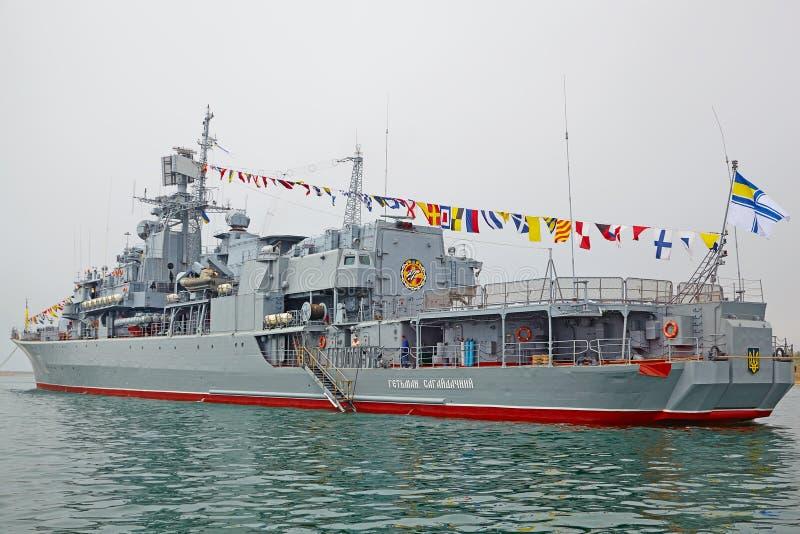 SEVASTOPOL, UKRAINE -- MAY 12: Ukrainian frigate Hetman Sahaydachniy (U130) in the parade of ships. Celebrating 230 years of. The Black Sea Fleet on May 12 royalty free stock images