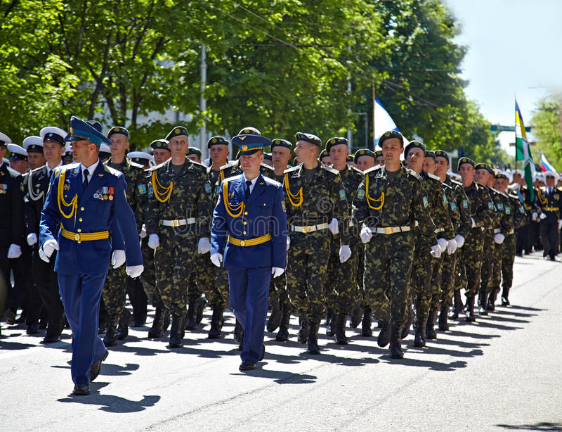 SEVASTOPOL, UKRAINE -- MAY 9: Victory Parade royalty free stock photography