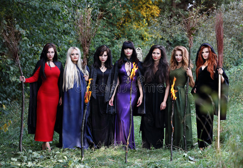 Seven beautiful witches royalty free stock image