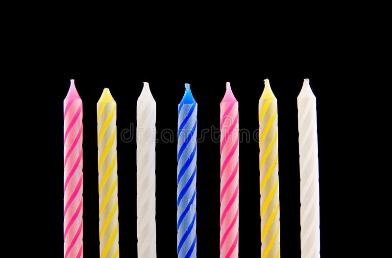 Download Seven Birthday Candles On Black Stock Image - Image: 15263665