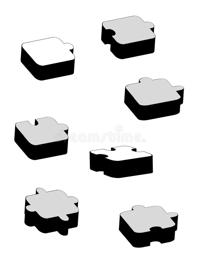 Download Seven Black And White Different Puzzles Stock Image - Image: 7456351