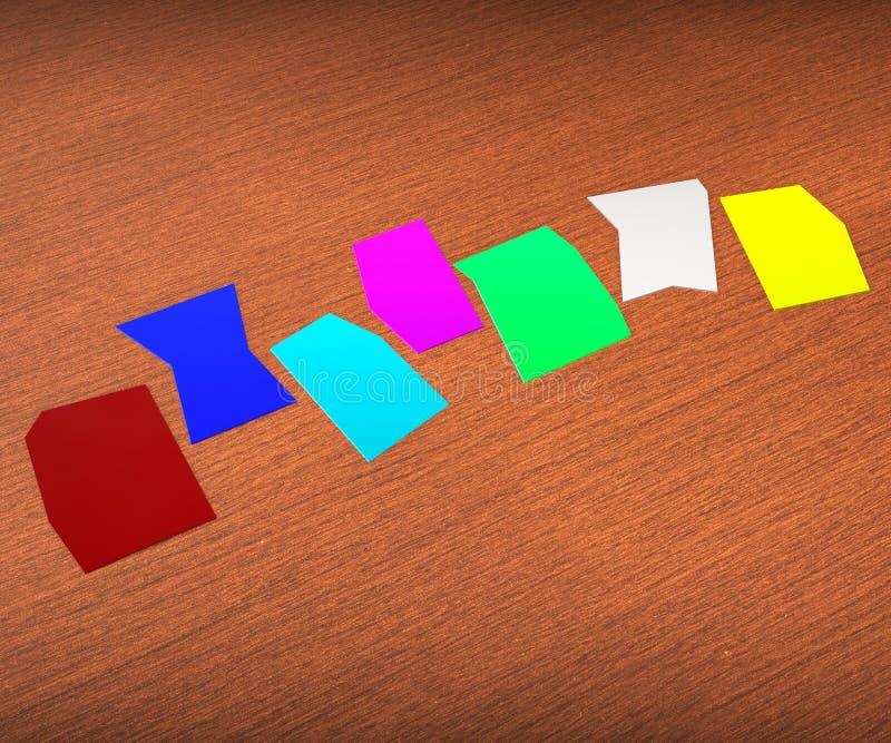 Seven Blank Paper Slips Show Copyspace For 7 Letter Word. Seven Blank Paper Slips Showing Copyspace For 7 Letter Word stock illustration