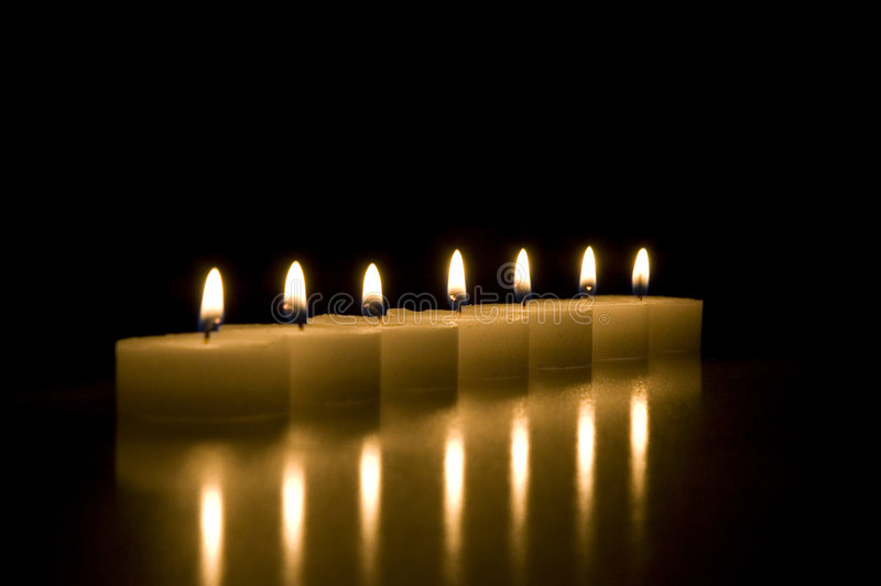 Download Seven candles stock image. Image of seven, mood, reflection - 462451