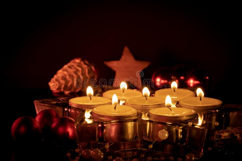 Candles at Christmas with negative space above royalty free stock images