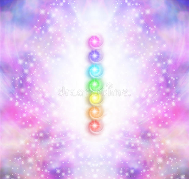 Seven Chakra Vortex Stack. Symmetrical oink and purple sparkling starry colored energy field with a vertical row of seven rainbow colored chakras placed in the royalty free illustration
