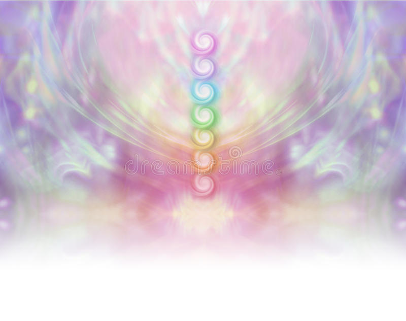 Seven Chakra Vortex Website Banner. Symmetrical pastel colored wispy misty background with vertical row of seven healing chakras placed in center