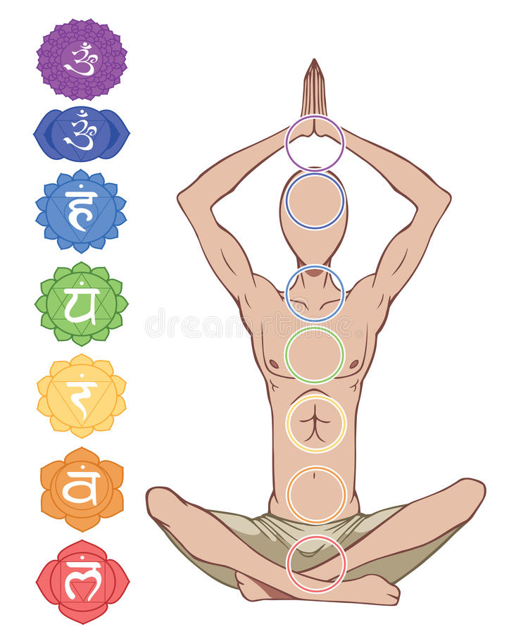 Seven chakras. Man silhouette in yoga position with the symbols of seven chakras royalty free illustration