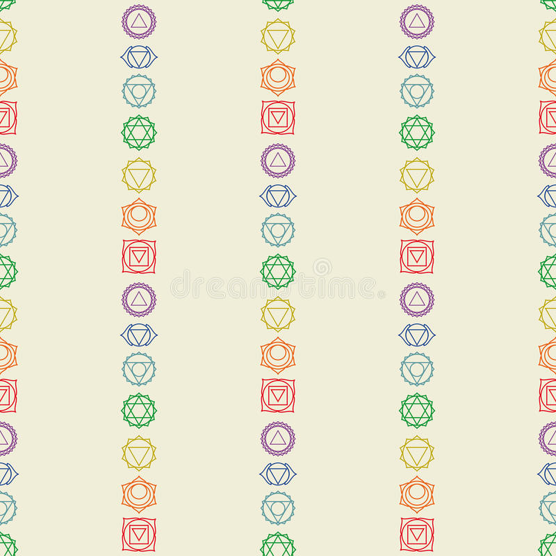 Seven chakras icons seamless pattern.Yoga,meditation,reiki. Ayurveda and buddhism colored simbol.Abstract geometric hinduism background.7 human energy centers stock illustration