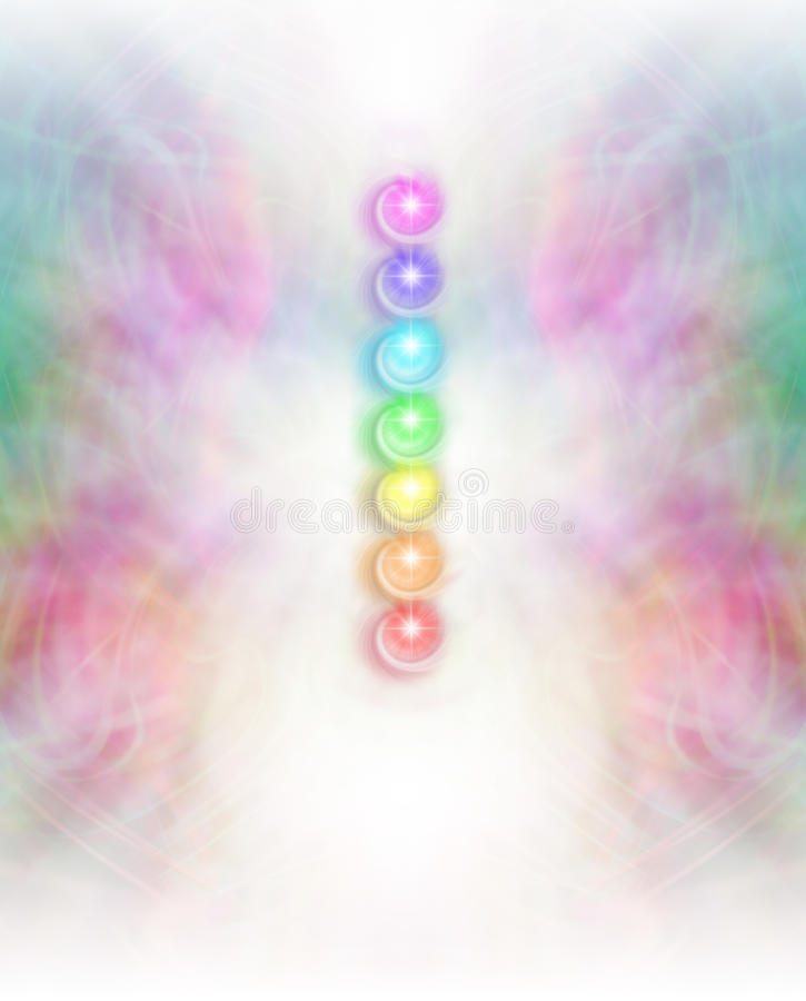 Seven Chakras in subtle energy field background. Symmetrical intricate pastel colored lace pattern background, with a vertical row of seven chakra vortexes lying stock illustration