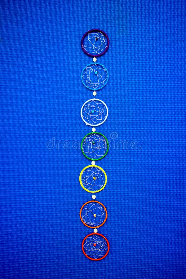 Seven Chakras - Wall Decor on Blue Background stock photos