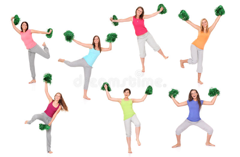 Seven cheerleaders. A set of seven pictures of young cheerleaders posing over white background vector illustration