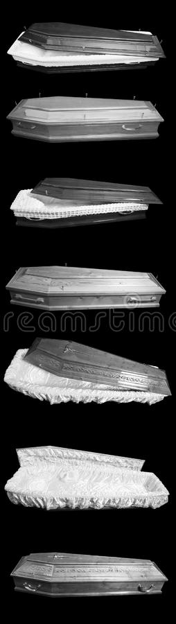 Seven coffins. Many opened coffins on a black background, seven coffins stock photography