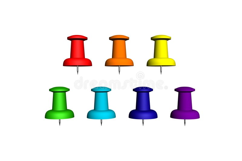 Seven Colorfull Push-pin Stock Images
