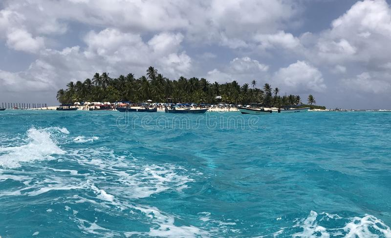 Seven colors sea. San Andres Island, Colombia clouds royalty free stock photo