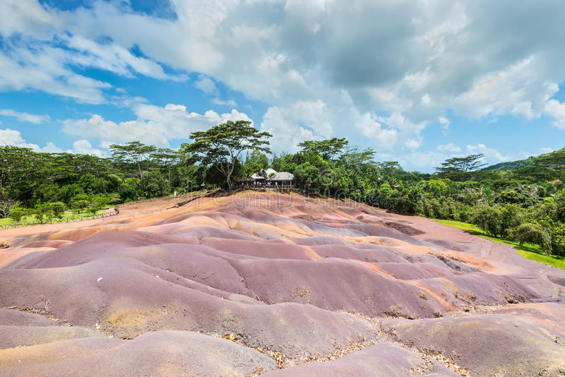 Seven Coloured Earth in Mauritius, Chamarel nature reserve stock image