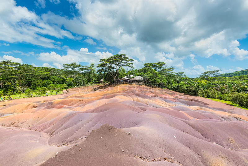 Seven Coloured Earth in Mauritius, Chamarel nature reserve stock photography