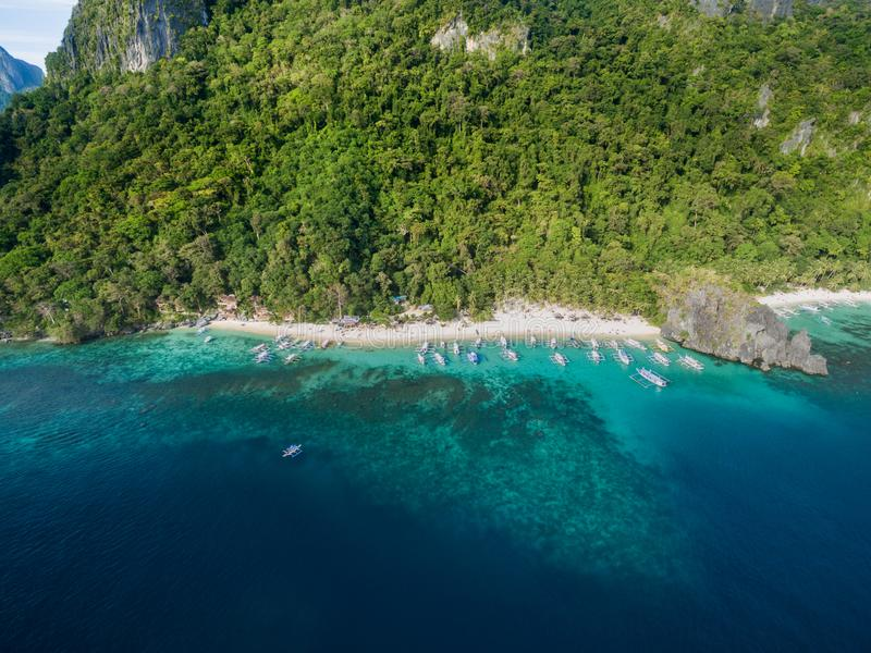 Seven Commandos Beach and Papaya Beach in El Nido, Palawan, Philippines. Tour A route and Place. Seven Commandos Beach and Papaya Beach stock image