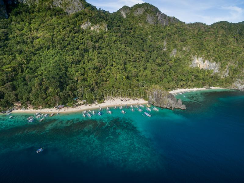 Seven Commandos Beach and Papaya Beach in El Nido, Palawan, Philippines. Tour A route and Place. Seven Commandos Beach and Papaya Beach stock photo