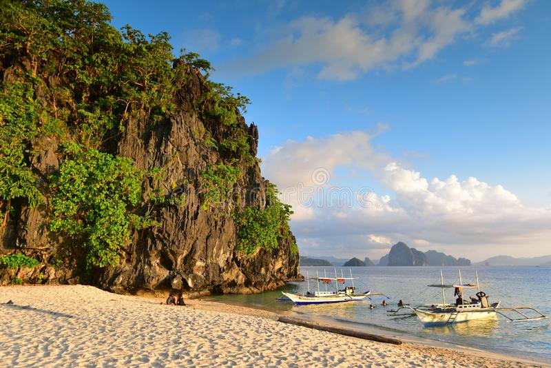 Seven Commandos Beach, a serene beach with clear water at El Nido in Philippines. Seven Commandos Beach, a serene beach with clear water at El Nido, Philippines stock photos