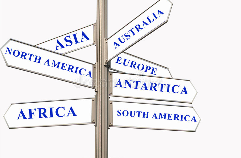 Seven Continents. Street Direction showing the seven continent - Concept for destination royalty free stock image