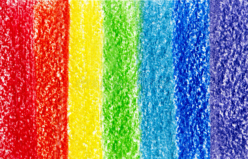 Seven crayon multi colored strokes royalty free stock image