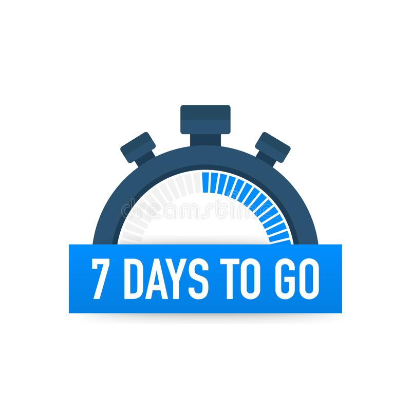 Seven days to go. Time icon. Vector illustration on white background. Seven days to go. Time icon. Vector stock illustration on white background royalty free illustration