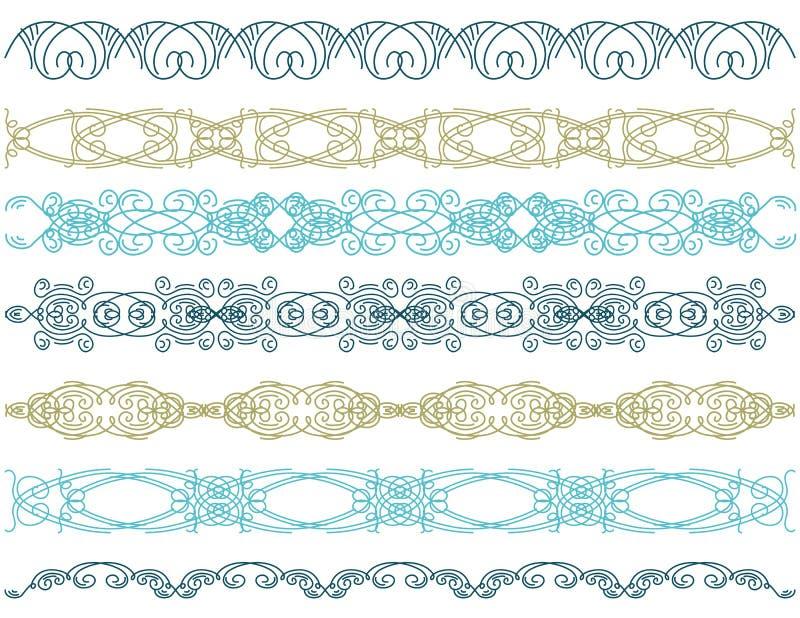 Seven decorative lines, royalty free illustration