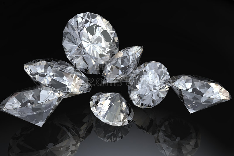 Download Seven diamonds stock illustration. Image of reflection - 4519904