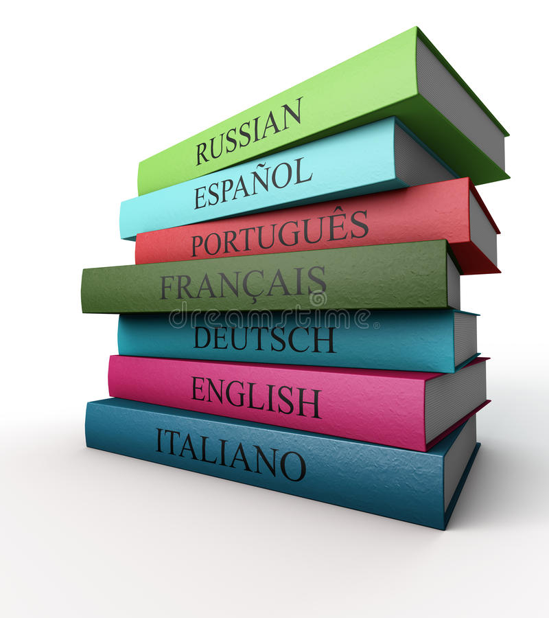 Seven dictionaries each other, Italian, French, Spanish, Portuguese, Russian, German and English vector illustration