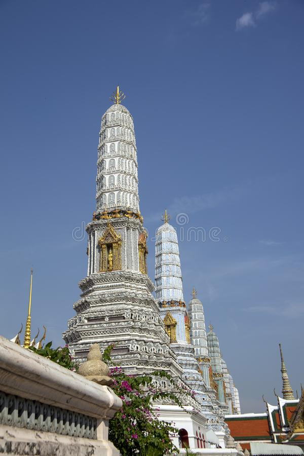 Seven of the eight Phra Atsada Maha Chedis, Grand Palace, Bangkok, Thailand stock photo
