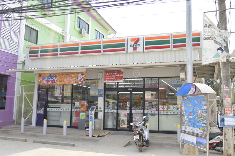 Seven Eleven convenient store. The exterior of a 7-Eleven store on a road the Banglampoo district the Thai capital royalty free stock photography