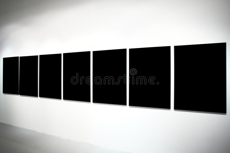 Seven empty black large banners royalty free stock photography