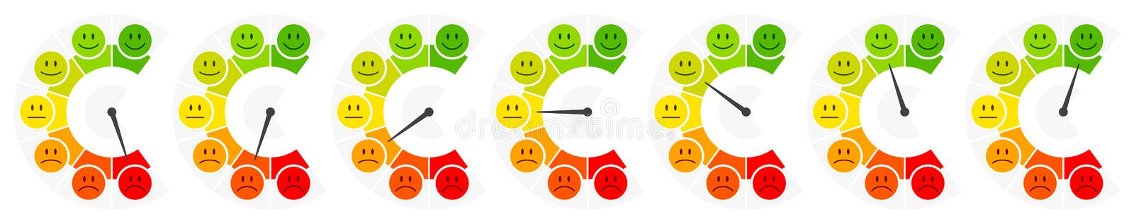 Seven Faces Color Barometer Public Opinion Vertical. Collection Of Seven Faces Mood Color Barometer Public Opinion Vertical vector illustration
