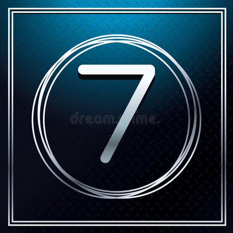 Seven font number over metallic texture stock illustration